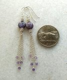 STERLING SILVER CHAROITE AND AMETHYST EARRINGS #9