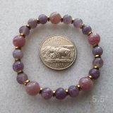 STRETCHY BRACELET--FOR LOVE ATTUNEMENT SOOTHING ROSE QUARTZ (MADAGASCAR) AND LEPIDOLITE #9