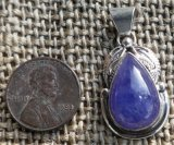 NATIVE AMERICAN STERLING SILVER TANZANITE PENDANT #8