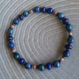 SOOTHER BRACELET--FOR ANXIETY (AZURITE/MALACHITE, LAPIS LAZULI, HEMATITE) #4