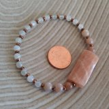 MOONSTONE (MULTI) AND COPPER-TONED PLATED HEMATITE STRETCHY BRACELET #1