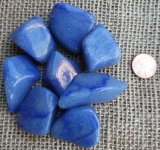 DUMORTIERITE IN QUARTZ/BLUE QUARTZ TUMBLES #3