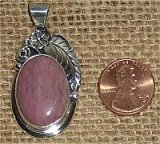 NATIVE AMERICAN STERLING SILVER THULITE PENDANT #1