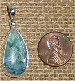 STERLING SILVER BLUE AND GREEN KYANITE PENDANT #28