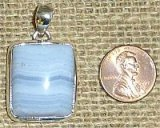 STERLING SILVER BLUE LACE AGATE PENDANT #3