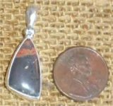 STERLING SILVER PUMPELLYITE/CHLORASTROLITE WITH NATIVE COPPER PENDANT #12