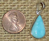 STERLING SILVER TURQUOISE PENDANT #16
