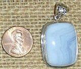 STERLING SILVER BLUE LACE AGATE PENDANT #4
