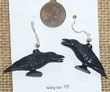 STERLING SILVER RAVEN EARRINGS #2 (HORN)