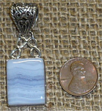 STERLING SILVER BLUE LACE AGATE PENDANT #7