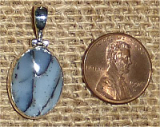 STERLING SILVER BLUE DENDRITIC AGATE PENDANT #9