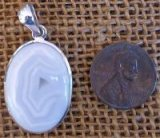 STERLING SILVER GREY BOTSWANA AGATE PENDANT #7