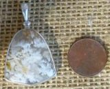 STERLING SILVER STINKING WATER PLUME AGATE PENDANT #15