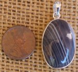 STERLING SILVER GREY BOTSWANA AGATE PENDANT #8