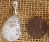 STERLING SILVER STINKING WATER PLUME AGATE PENDANT #19