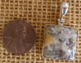 STERLING SILVER STINKING WATER PLUME AGATE PENDANT #20