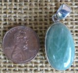 STERLING SILVER GREEN MOONSTONE PENDANT #15