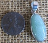 STERLING SILVER GREEN MOONSTONE PENDANT #29