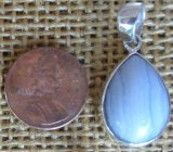 STERLING SILVER BLUE LACE AGATE PENDANT #20
