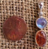 STERLING SILVER RAINBOW MOONSTONE AND SUNSTONE PENDANT #2