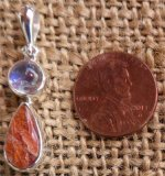 STERLING SILVER RAINBOW MOONSTONE AND SUNSTONE PENDANT #3