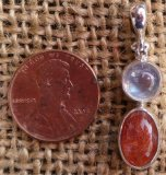 STERLING SILVER RAINBOW MOONSTONE AND SUNSTONE PENDANT #6