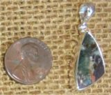 STERLING SILVER PUMPELLYITE/CHLORASTROLITE WITH NATIVE COPPER PENDANT #7