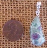STERLING SILVER RUBY IN FUCHSITE PENDANT #6