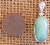 STERLING SILVER GREEN MOONSTONE PENDANT #8